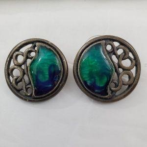 Chicos Earrings Blue Swirl Green Enamel Silver ton